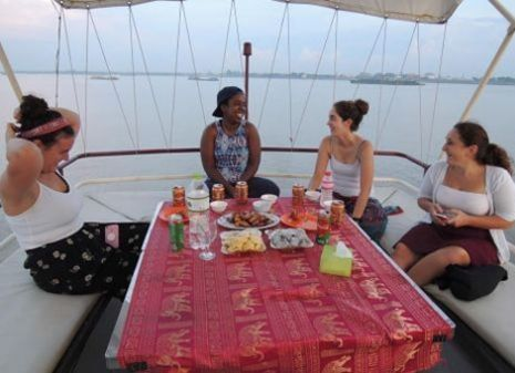 the sunset cruise on Mekong River